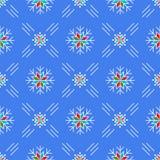 Blaue Hintergrundlinie Kunstart Weihnachtsder nahtlosen Musterschneeflocken vektor abbildung
