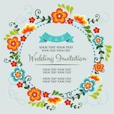 Blaue Hochzeitseinladung Lizenzfreie Stockfotos