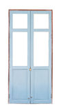 Blaue Holztür lokalisiert auf weißem Hintergrund Lizenzfreie Stockfotografie