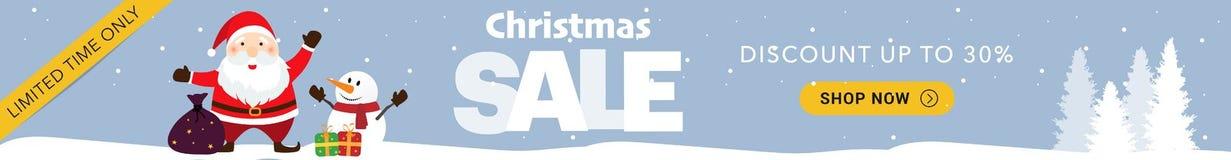 Blaue horizontale Fahne des Weihnachtsverkaufs stockfotos