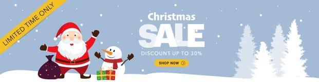 Blaue horizontale Fahne des Weihnachtsverkaufs lizenzfreies stockfoto