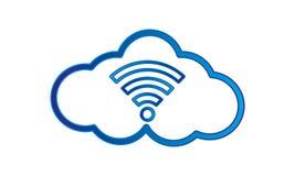 Blaue Ikone Coud WiFi auf weißem Hintergrund stock abbildung