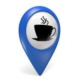 Blaue Ikone des Kartenzeigers 3D mit einem Kaffeetassesymbol für Cafés und Bistros Stockfotos