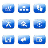 Blaue Ikone SEO Internet Sign Square Vectors stellte 5 ein Lizenzfreie Stockfotografie