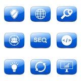 Blaue Ikone SEO Internet Sign Square Vectors stellte 2 ein Lizenzfreies Stockbild