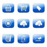 Blaue Ikone SEO Internet Sign Square Vectors stellte 7 ein Lizenzfreie Stockfotos