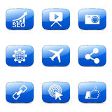 Blaue Ikone SEO Internet Sign Square Vectors stellte 1 ein Stockbild