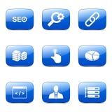 Blaue Ikone SEO Internet Sign Square Vectors stellte 11 ein Stockfoto