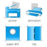 Blaue Ikonen der Druckereiservices eingestellt Teil 6 Stockfotografie