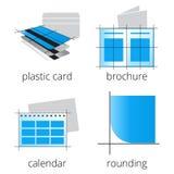 Blaue Ikonen der Druckereiservices eingestellt Teil 3 Stockfotos