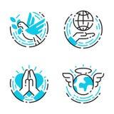 Blaue Ikonen des Friedensentwurfs lieben Sorgfalthoffnungssymbol-Vektorillustration Weltfreiheit International freie Stockbilder