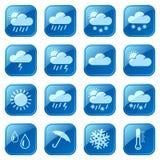 Blaue Ikonen des Wetters eingestellt Stockbilder