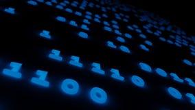 Blaue Illustration des Hintergrundes 3d des abstrakten binär Code-Glühens Stockbilder