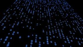Blaue Illustration des Hintergrundes 3d des abstrakten binär Code-Glühens Stockfotografie
