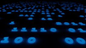 Blaue Illustration des Hintergrundes 3d des abstrakten binär Code-Glühens Lizenzfreie Stockfotografie