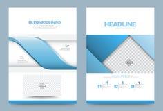 Blaue Jahresberichtbroschürenfliegerdesignschablonen-Vektorwelle streift Art ab Lizenzfreies Stockbild