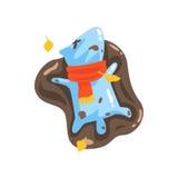 Blaue Jelly Zombie Dog Monster Rolling in der Pfütze des Schlammes unter fallendem Gelb verlässt draußen in Autumn Season Lizenzfreie Stockfotos