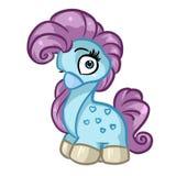 Blaue Karikaturillustration des kleinen Ponys Stockfoto