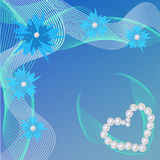 Blaue Karte für Valentinsgruß-Tag mit Perlen Herz und Blumen stock abbildung