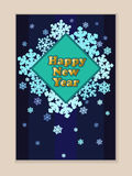 Blaue Karte mit einem neuen Jahr Schneeflocken Vektor Lizenzfreie Stockbilder
