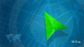 Blaue Karte mit HUD-Design und POI-Hintergrund stockfoto