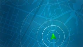 Blaue Karte mit HUD-Design und POI-Hintergrund stockfotografie