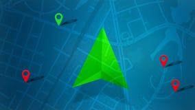 Blaue Karte mit HUD-Design und POI-Hintergrund lizenzfreie stockbilder