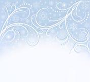 Blaue Karte mit Schneeflocken Stockfotos