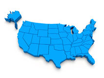 Blaue Karte von USA. 3d lizenzfreie stockbilder