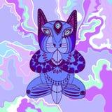 Blaue Katze, die im Lotussitz sitzt lizenzfreie abbildung