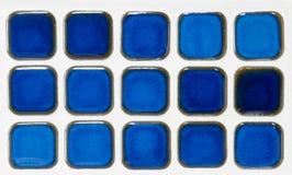 Blaue keramische Minifliese Stockbild