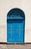 Blaue Kirche-Tür Stockbild