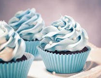 Blaue kleine Kuchen Lizenzfreies Stockfoto