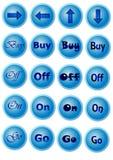 Blaue Knöpfe mit Zeichen Stockfotos