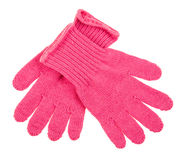 Blaue Knit-Handschuhe lokalisiert Stockfotos