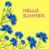 Blaue Kornblumen auf einem gelben Hintergrund Lizenzfreies Stockbild