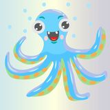 Blaue Krakenzeichentrickfilm-figur Flache lächelnde Krake mit Blase stockfotografie