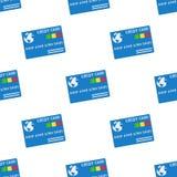 Blaue Kreditkarte-Ikonen-nahtloses Muster stockfotos