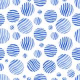 Blaue Kreise des nahtlosen Musters mit Streifen auf einem weißen Hintergrund Lizenzfreie Stockfotos