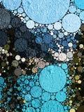 Blaue Kreise und Beschaffenheit des abstrakten Hintergrundes stockfoto