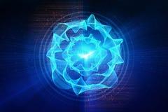 Blaue Kreisglühenwelle Scifi- oder Spielhintergrund Stockbild