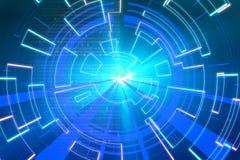 Blaue Kreisglühenwelle Scifi- oder Spielhintergrund Stockbilder