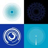 Blaue Kreissignalwellen Erzeugen Sie Funksignale des Ton- oder Radarvektors lizenzfreie abbildung