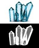 blaue Kristalle auf einem weißen Hintergrund mit Alphakanal transpare Stockfotografie