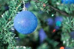 Blaue Kugel auf Weihnachtsbaum Stockbild