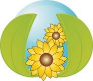 Blaue Kugel mit 2 Blättern und Sonnenblumen Lizenzfreie Stockfotos