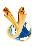 Blaue Kugel mit goldenen Dollareurozeichen Stockfoto