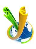Blaue Kugel mit verdrehtem Dollar und Eurozeichen Stockfoto