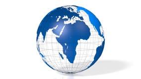 blaue Kugelweltkarte der Erde 3D lizenzfreie abbildung