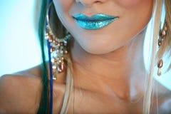 Blaue lächelnde Lippen Stockfotografie